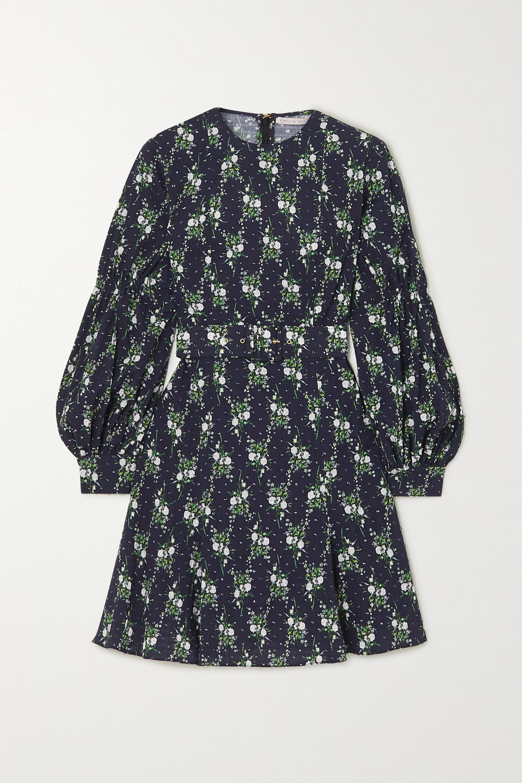Emilia Wickstead Azzura belted floral-print  Swiss-dot cotton-seersucker mini dress
