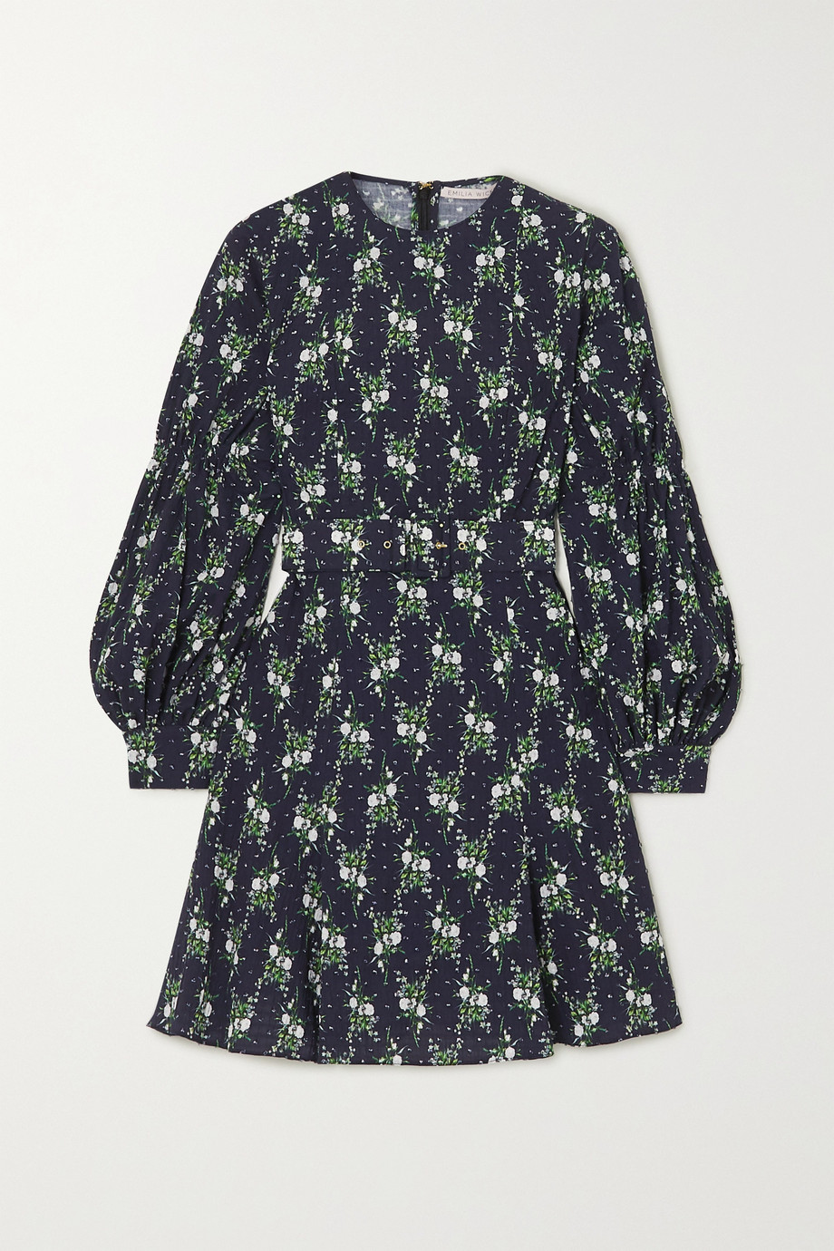 Emilia Wickstead Azzura belted floral-print  Swiss-dot cotton-seersucker mini dress