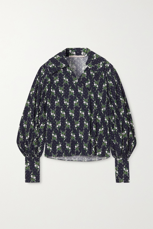 Emilia Wickstead Raffi floral-print Swiss-dot cotton-seersucker blouse