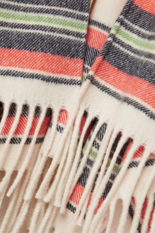 rag & bone Fringed striped cashmere and wool-blend wrap
