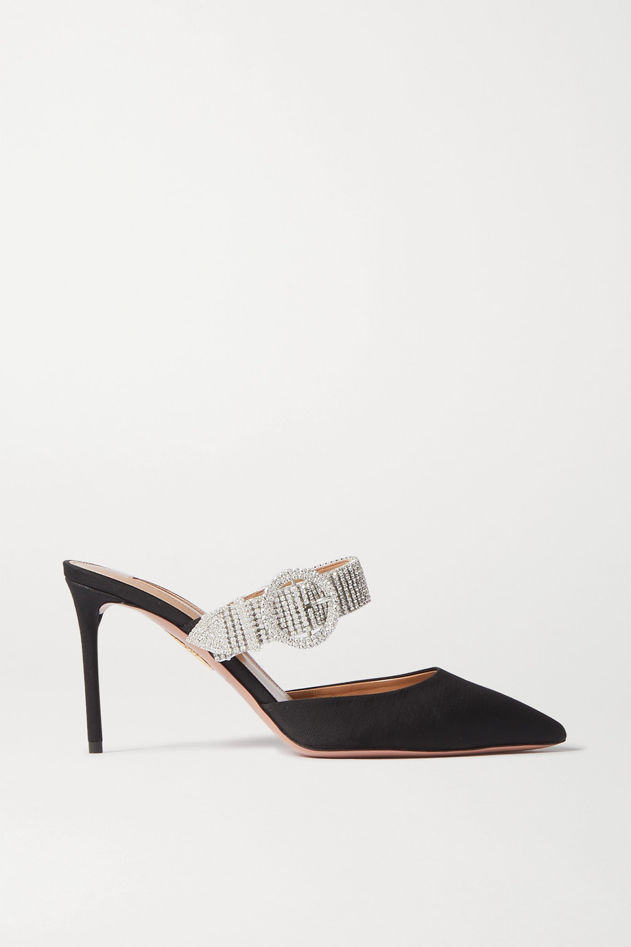 Aquazzura Chain Reaction crystal-embellished grosgrain mules