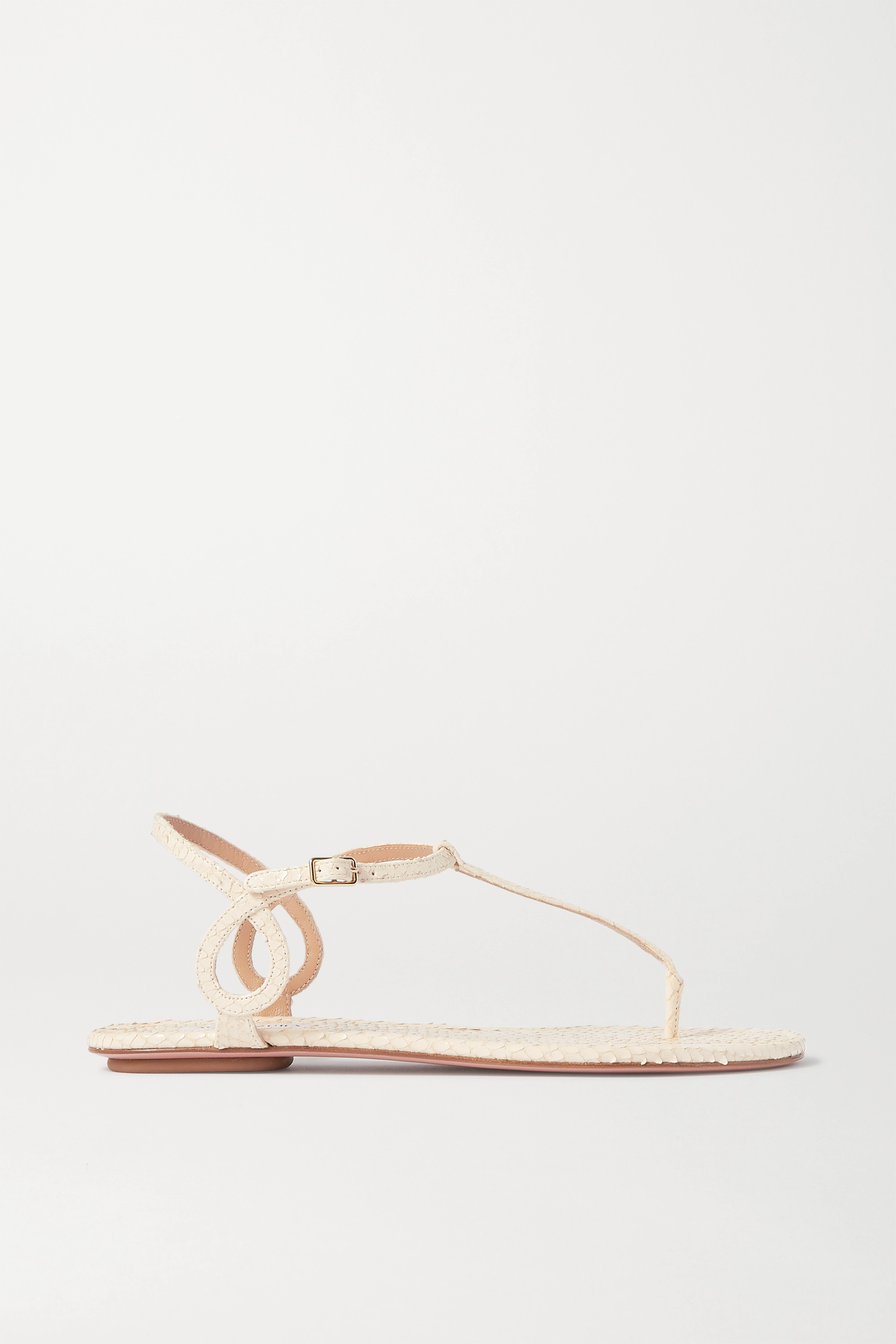 Aquazzura Almost Bare snake-effect leather sandals