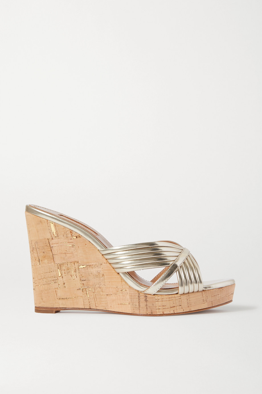 Aquazzura Sundance 120 metallic vegan leather wedge sandals