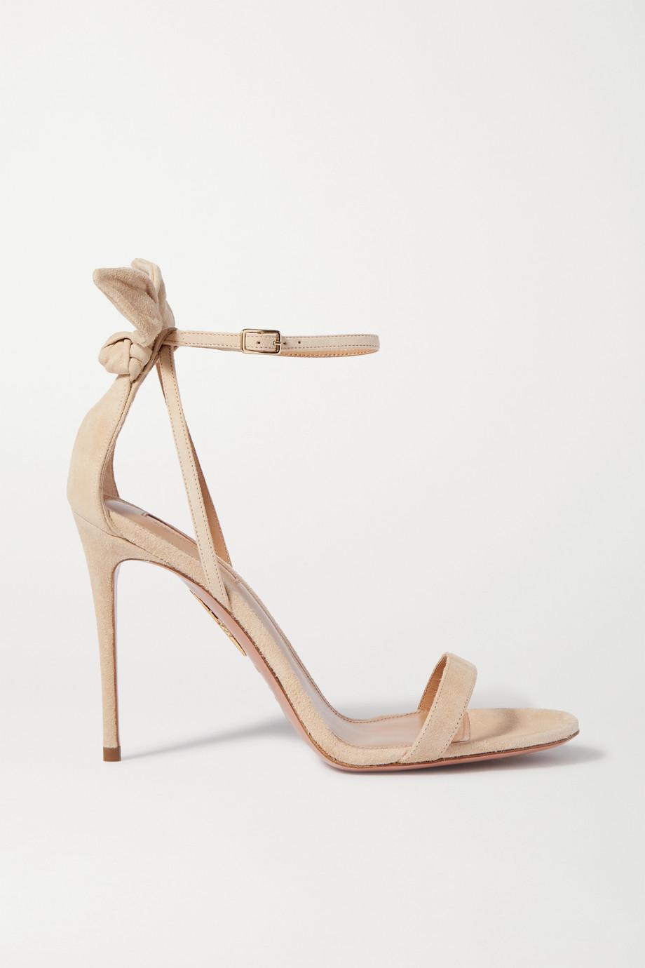 Aquazzura Bow Tie 105 绒面革凉鞋