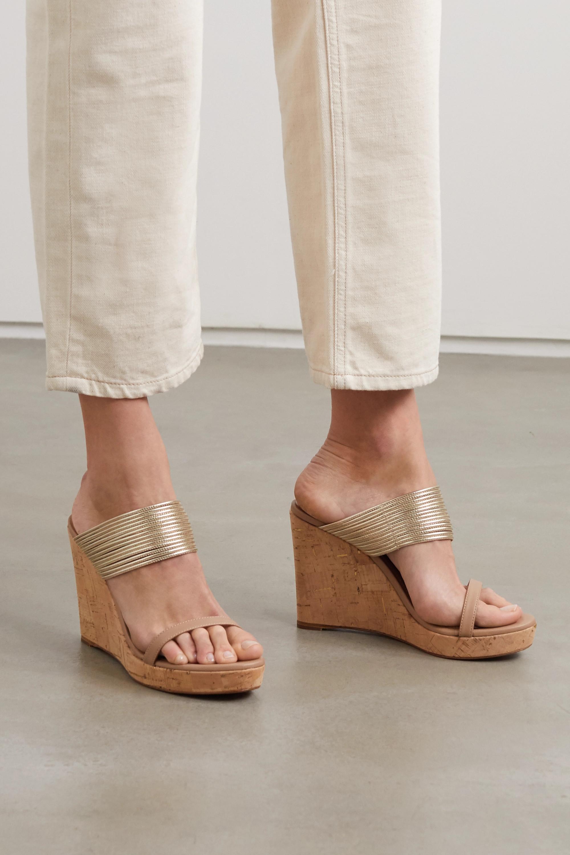 Aquazzura Rendez Vous 105 metallic leather wedge sandals