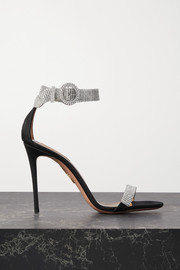 Aquazzura Chain Reaction 105 crystal-embellished grosgrain sandals