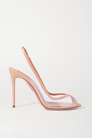 Aquazzura Temptation 105 leather-trimmed PVC slingback pumps