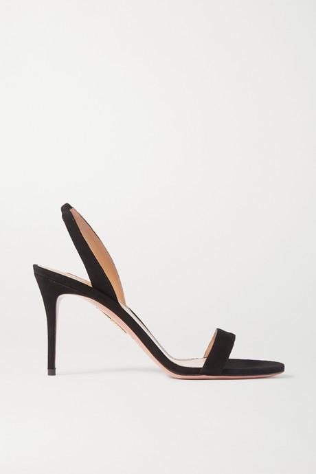 Black So Nude 85 suede slingback sandals | Aquazzura 5GAsq3