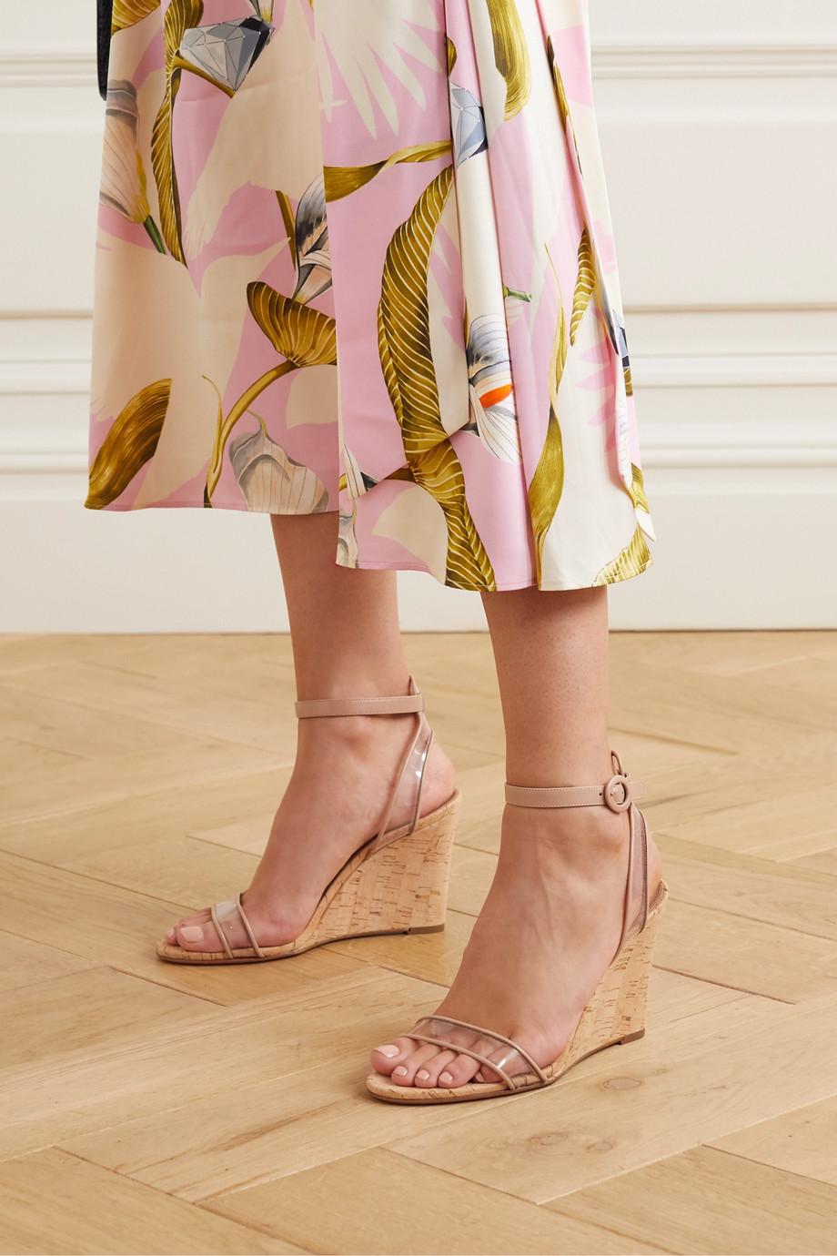 Aquazzura Minimalist 85 皮革 PVC 坡跟凉鞋