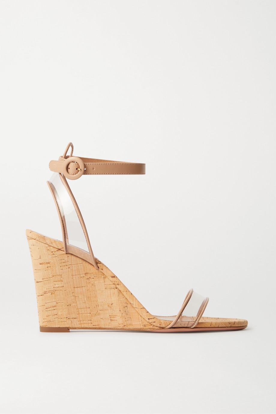 Aquazzura Minimalist 85 leather and PVC wedge sandals