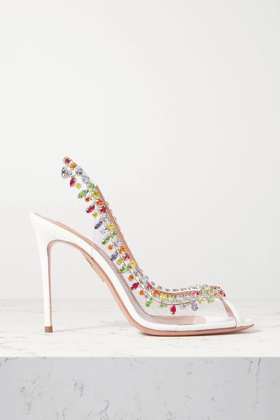 Aquazzura Temptation 105 crystal-embellished PVC and leather slingback pumps