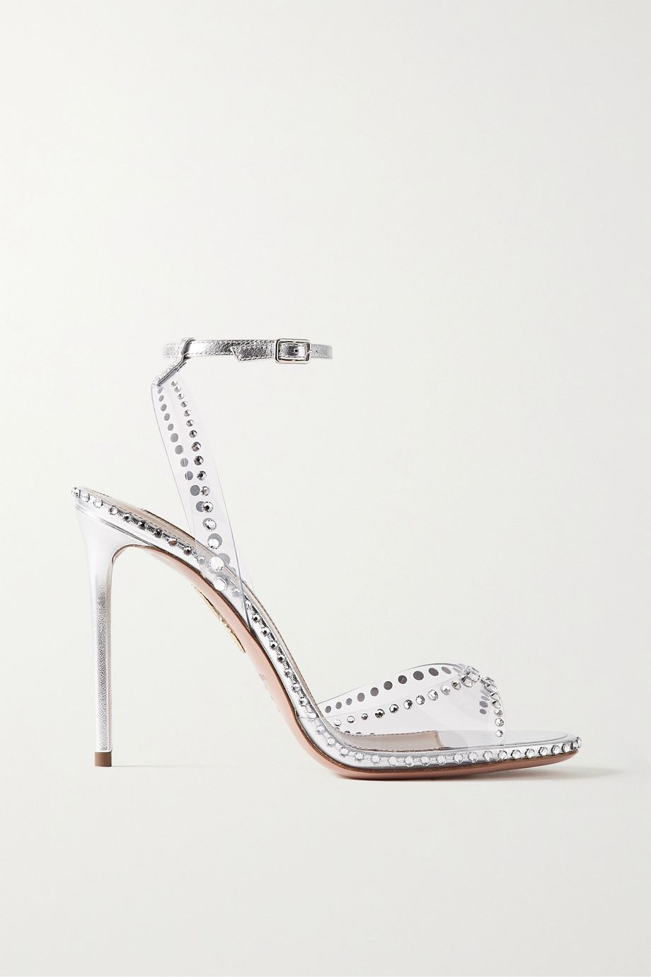 Aquazzura Dream 105 crystal-embellished PVC and leather sandals