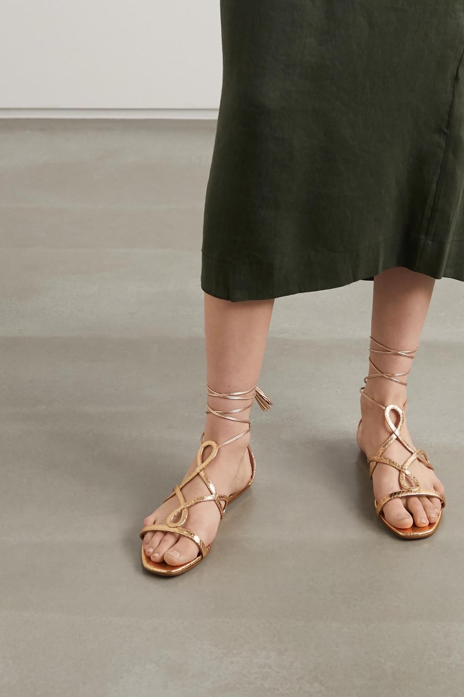 Aquazzura Gitana metallic snake-effect leather sandals