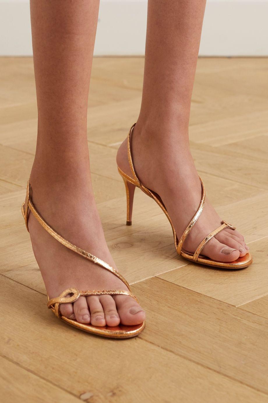 Aquazzura Serpentine 75 metallic snake-effect leather slingback sandals