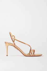 Aquazzura Serpentine 75 metallic snake-effect leather slingback sandals