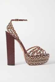 Aquazzura Cozumel 140 braided faux leather platform sandals