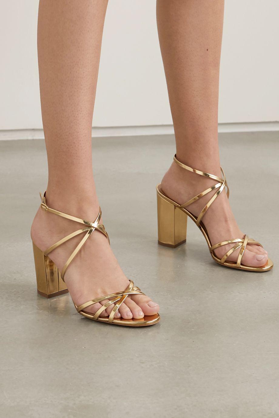 Aquazzura Gin 85 metallic patent-leather sandals
