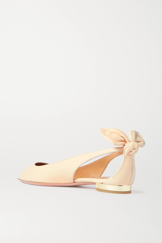 Aquazzura Bow Tie 皮革尖头平底鞋