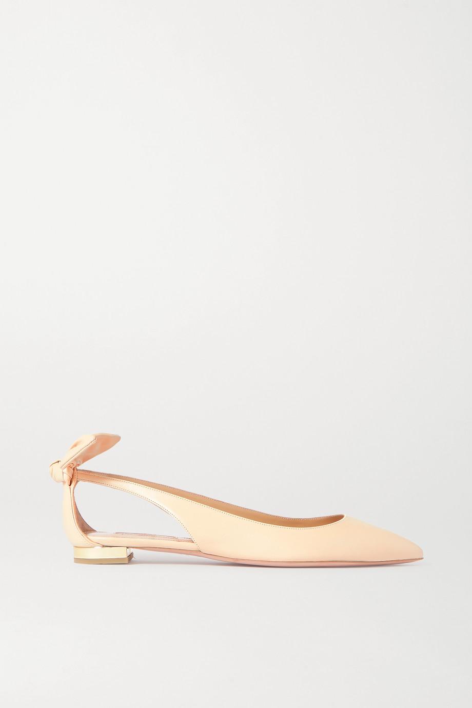 Aquazzura Bow Tie leather point-toe flats