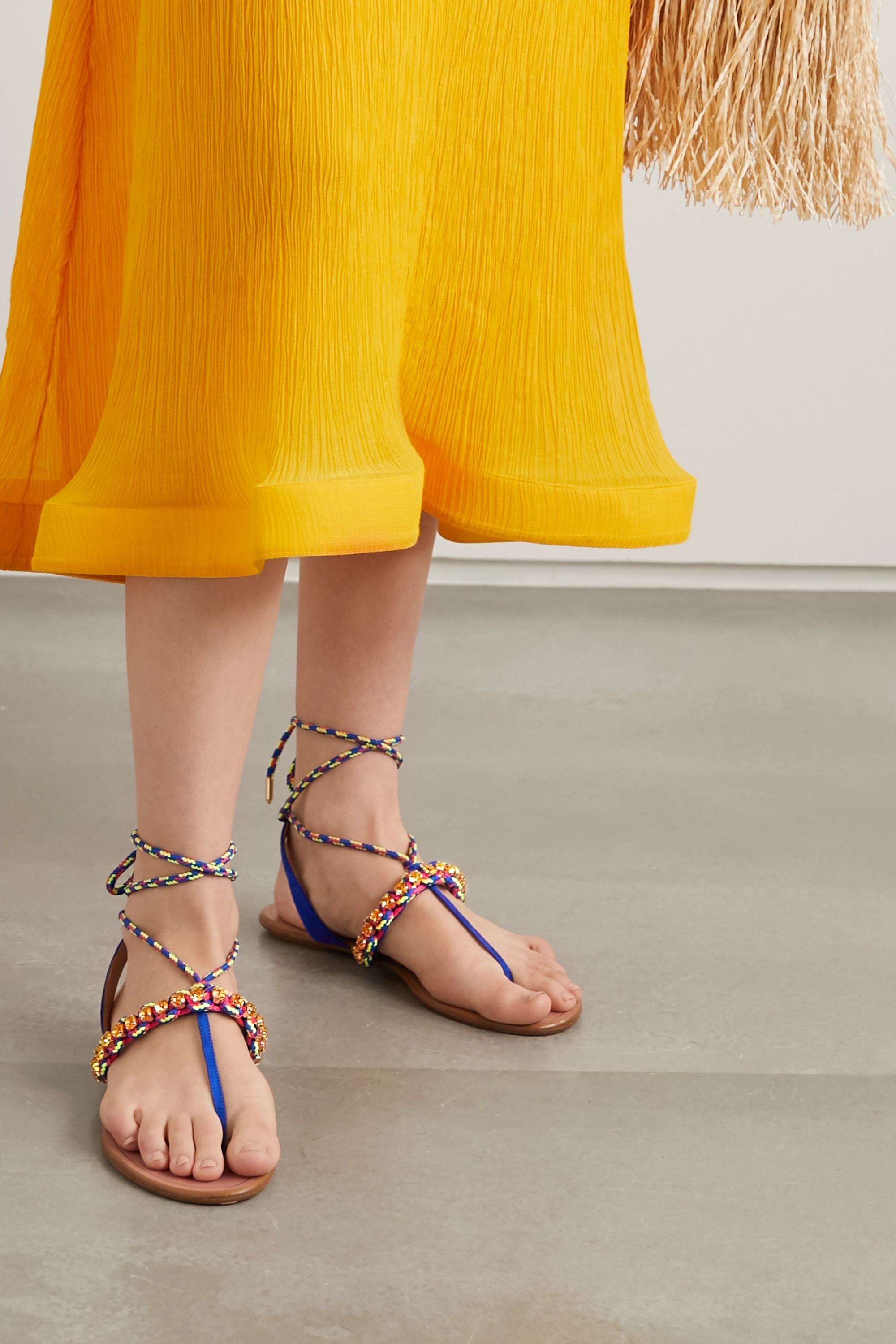 Aquazzura Surf crystal-embellished braided cord and suede sandals