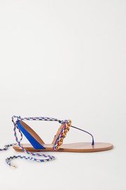 Surf crystal-embellished braided cord and suede sandals