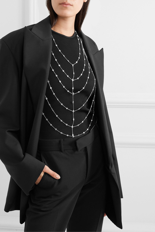 Kenneth Jay Lane Silberfarbene Körperkette mit Cubic-Zirkonia-Steinen