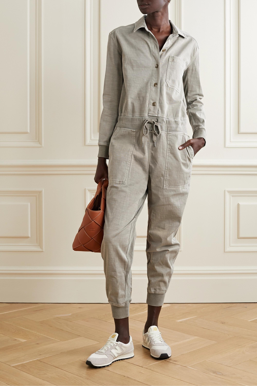 James Perse Mixed Media slub cotton-blend twill jumpsuit