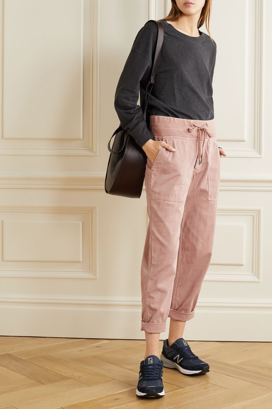James Perse Cropped cotton-blend twill cargo pants