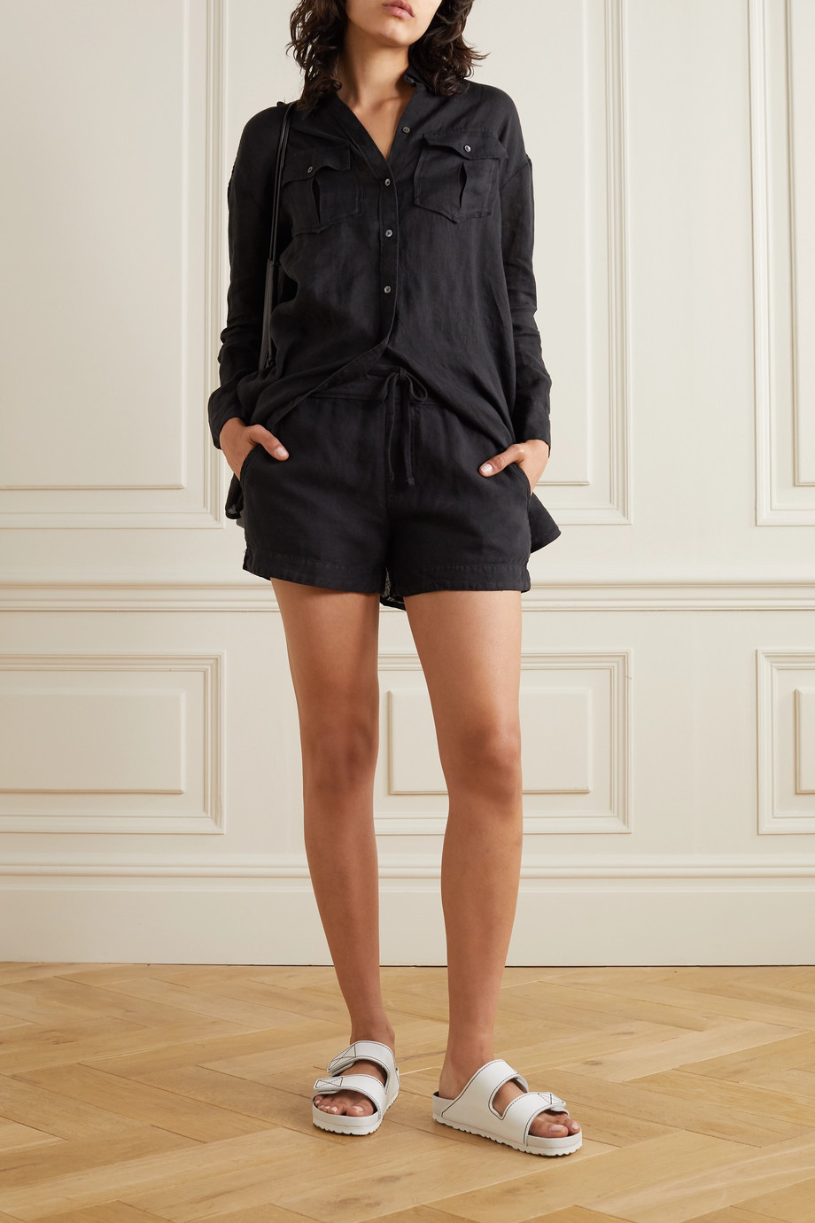 James Perse Lyocell and linen-blend shorts