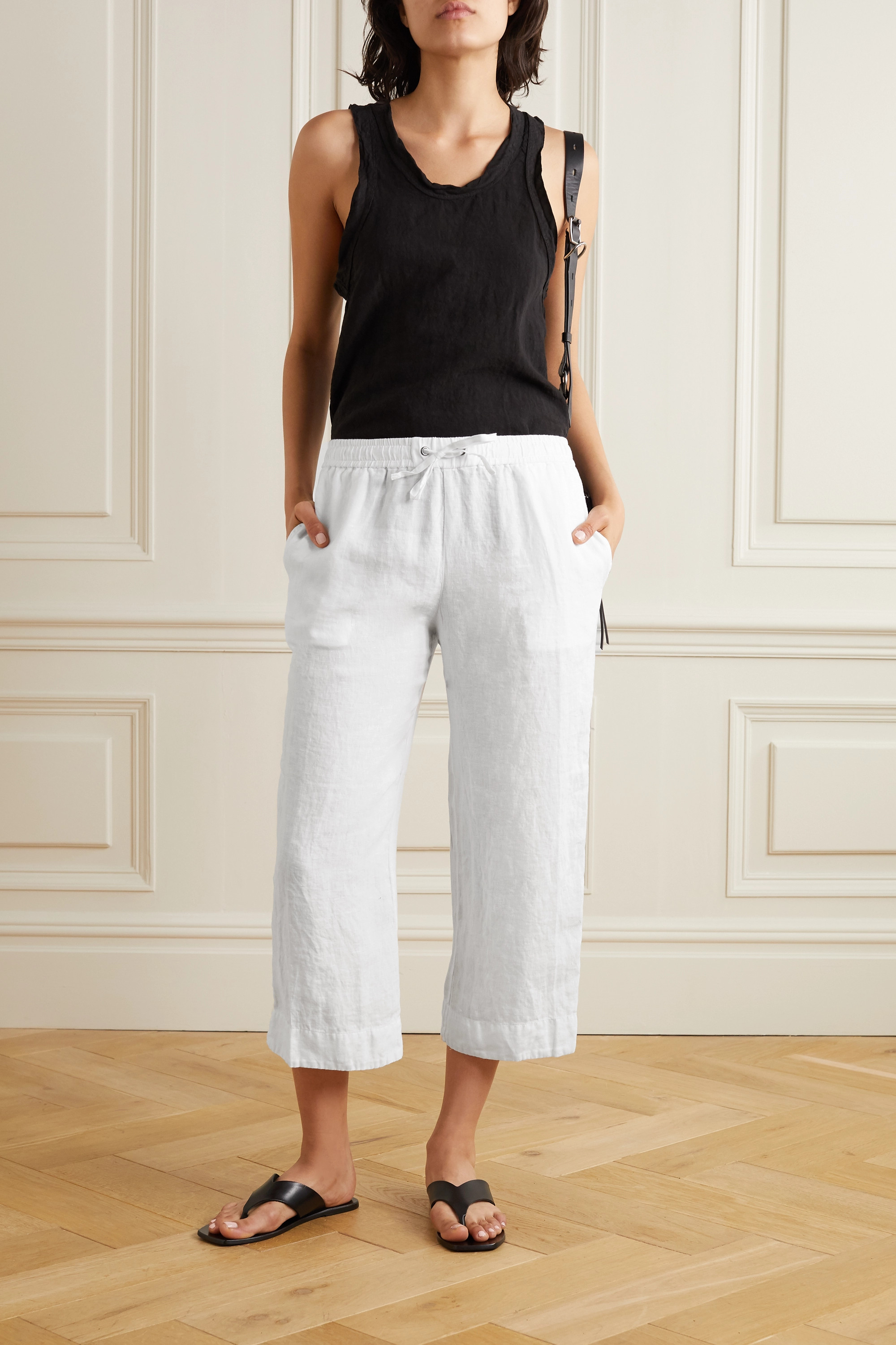 James Perse Cropped linen track pants