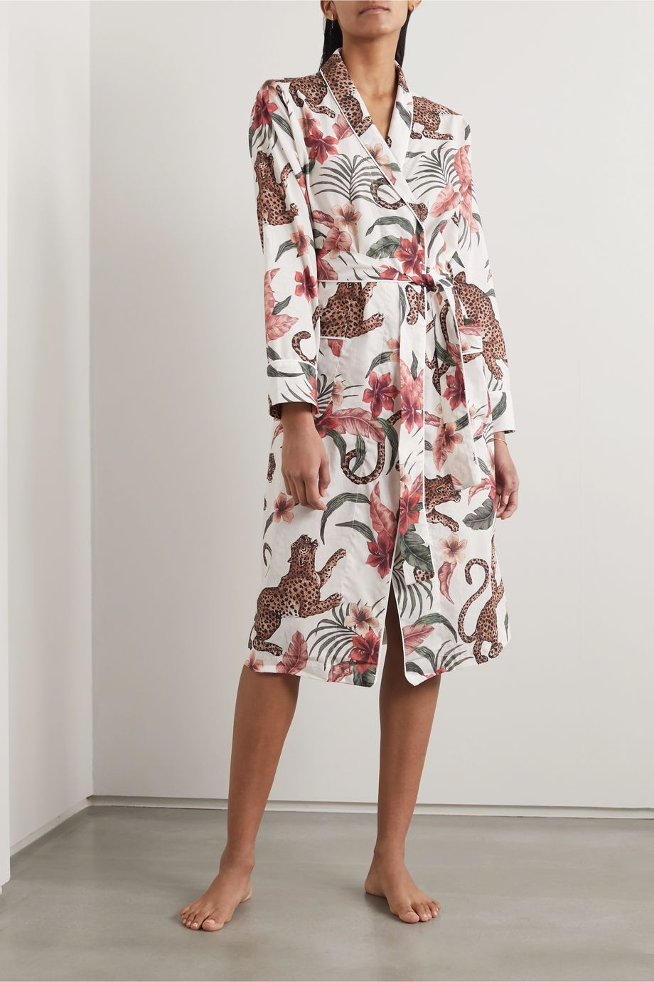 Desmond & Dempsey Soleia printed organic cotton-voile robe