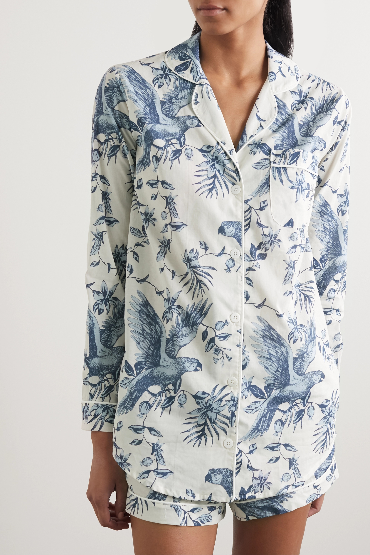 Desmond & Dempsey Signature printed organic cotton-voile pajama set