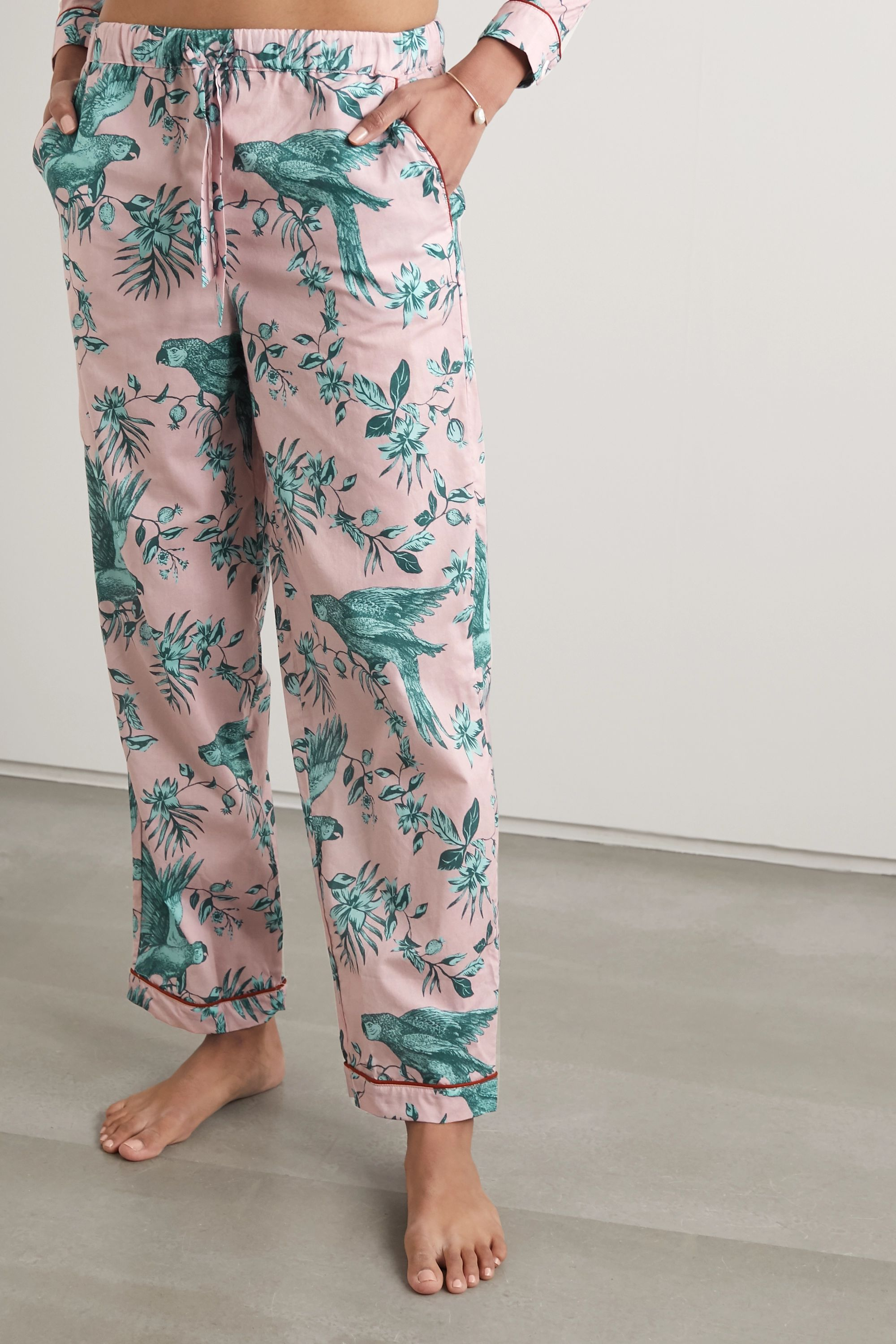 Desmond & Dempsey Bromley Parrot printed organic cotton-voile pajama set