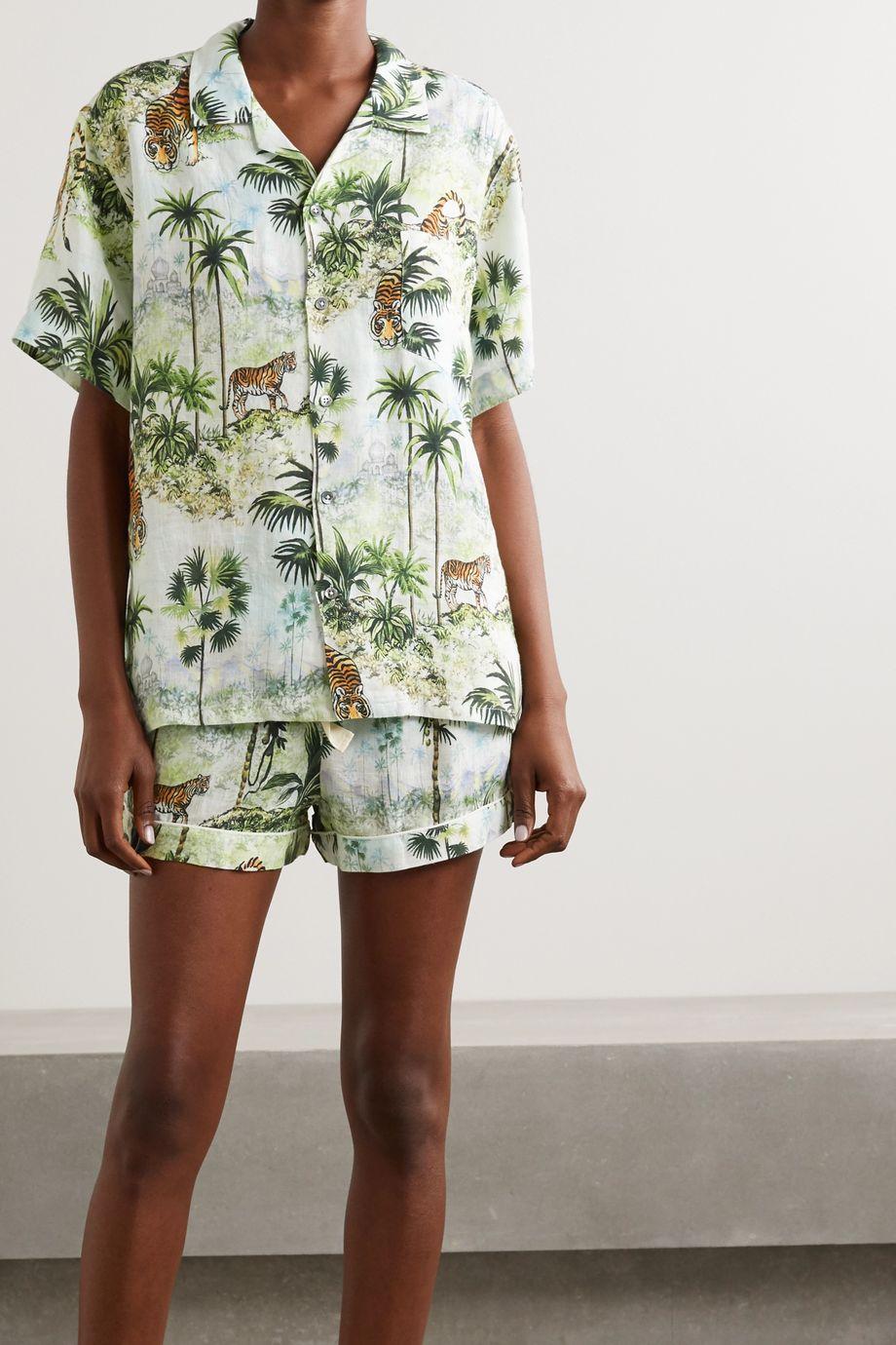 Desmond & Dempsey India Pyjama aus bedrucktem Leinen