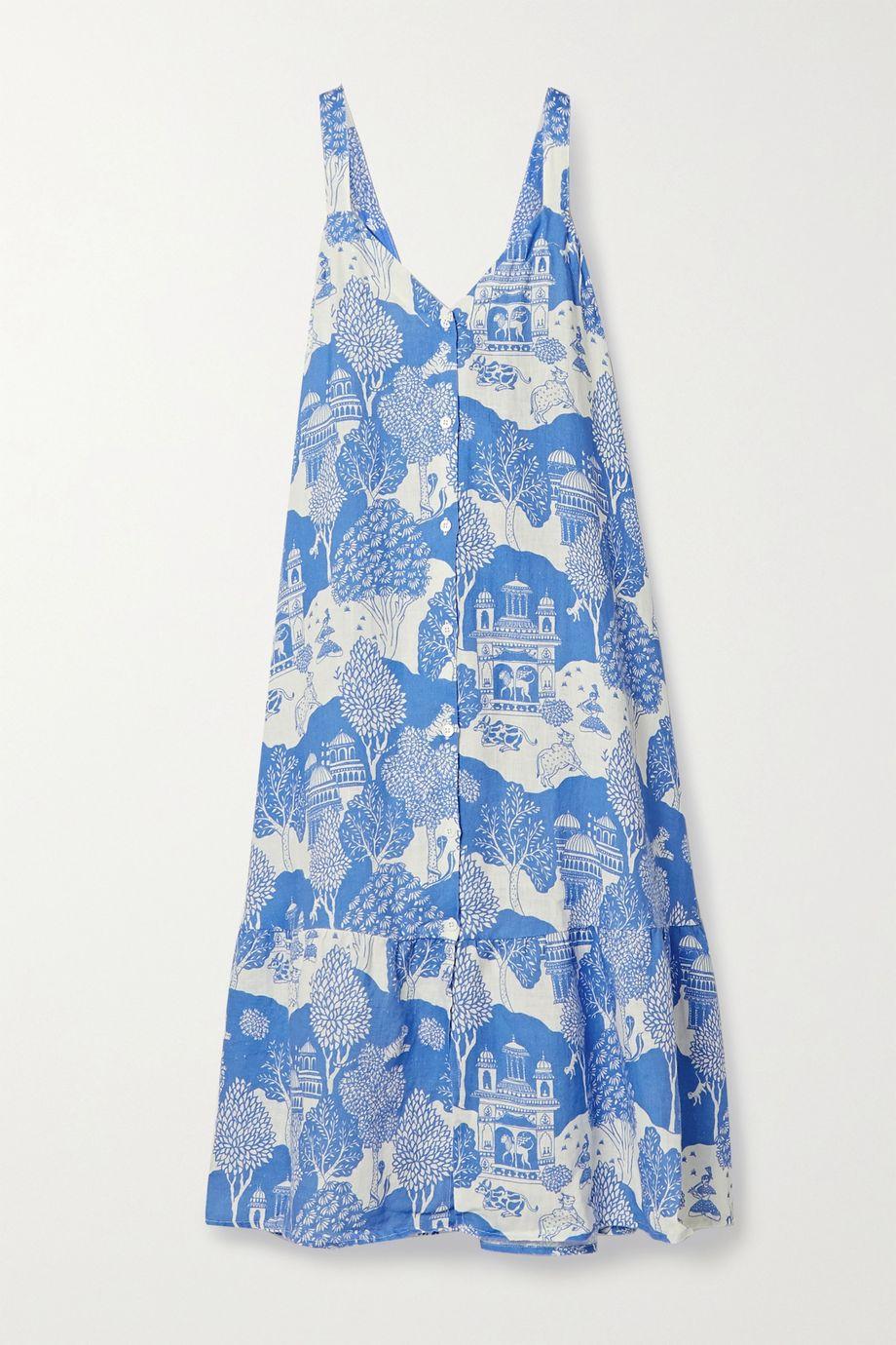 Desmond & Dempsey India Nachthemd aus bedrucktem Leinen