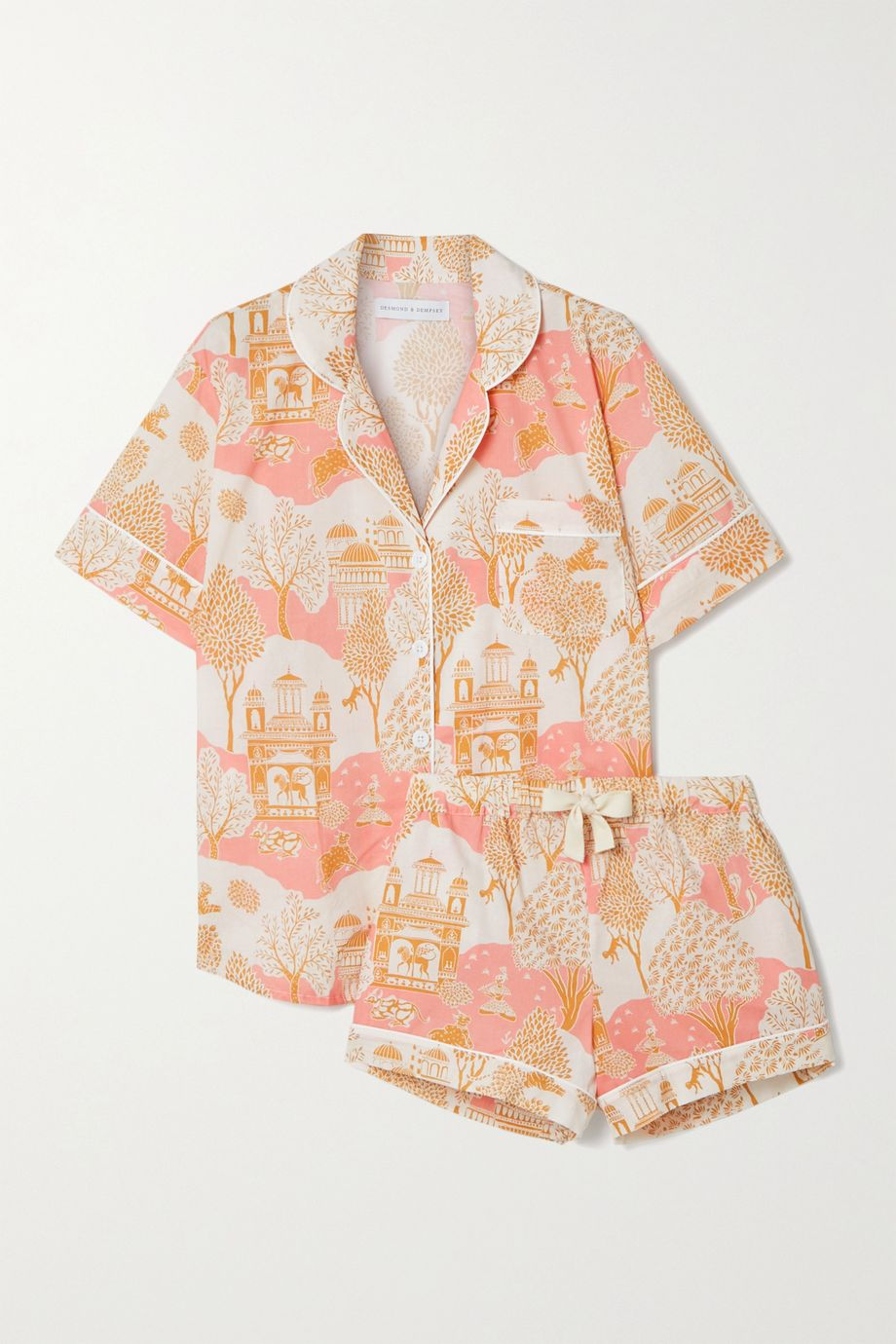 Desmond & Dempsey India Pyjama aus bedruckter Biobaumwolle