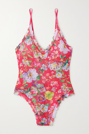 Hanky Panky Superbloom scalloped floral-print stretch-lace thong bodysuit