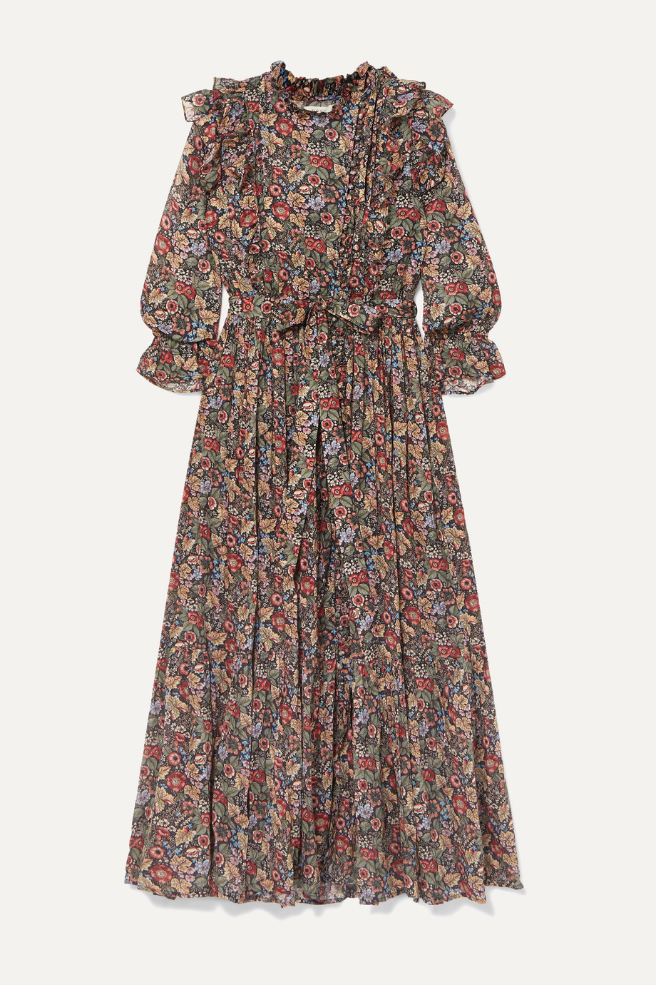 DÔEN Esme ruffled floral-print cotton-voile maxi dress
