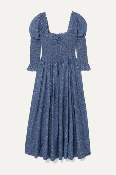 Bijou Shirred Floral Print Cotton Blend Voile Dress by DÔen