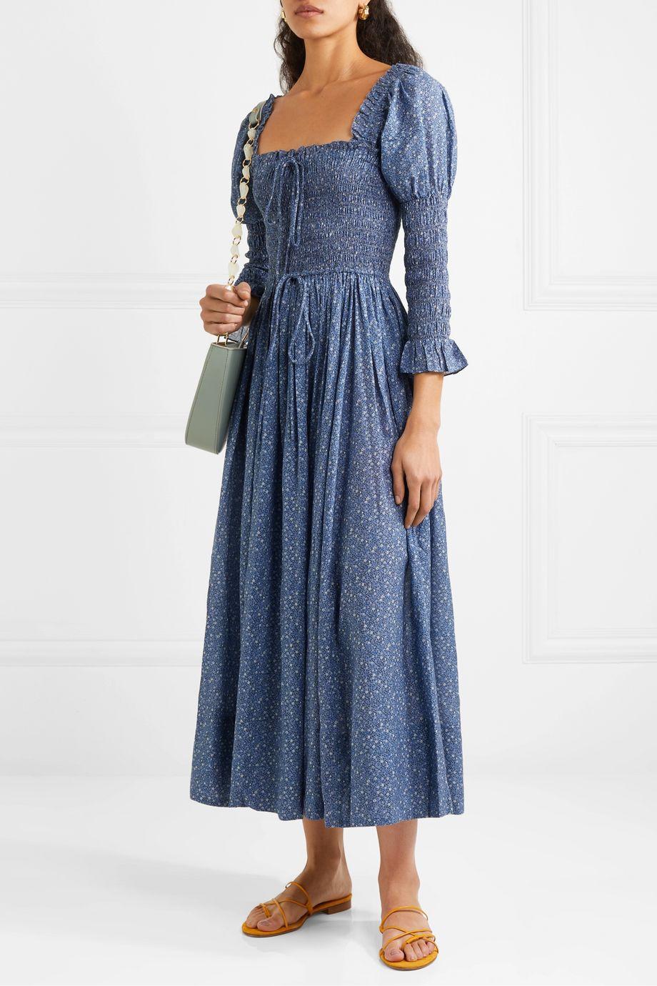 DÔEN Bijou smocked floral-print cotton-blend dress