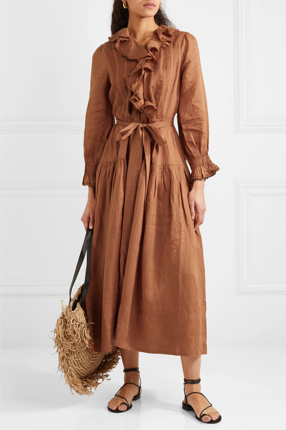 DÔEN Marine belted ruffled ramie maxi dress