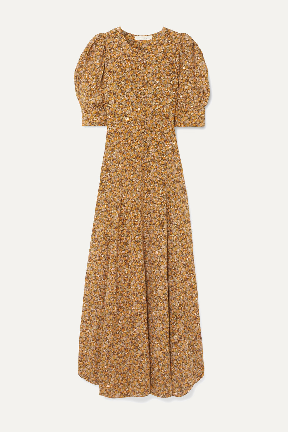 DÔEN Laurel asymmetric floral-print silk crepe de chine maxi dress