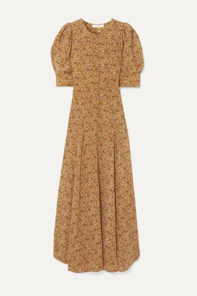 Laurel Asymmetric Floral Print Silk Crepe De Chine Maxi Dress by DÔen