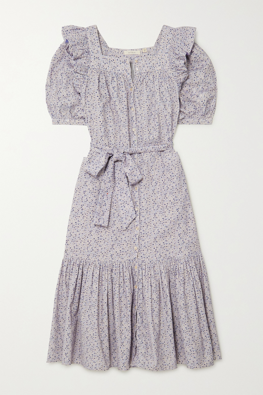 DÔEN Malta ruffled floral-print cotton-corduroy midi dress