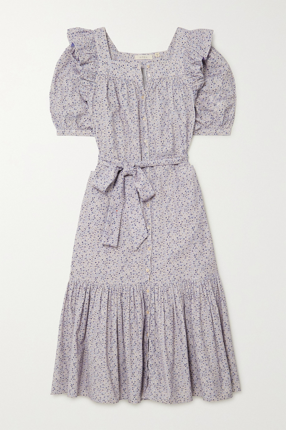 DÔEN Malta ruffled floral-print cotton-corduroy midi dress