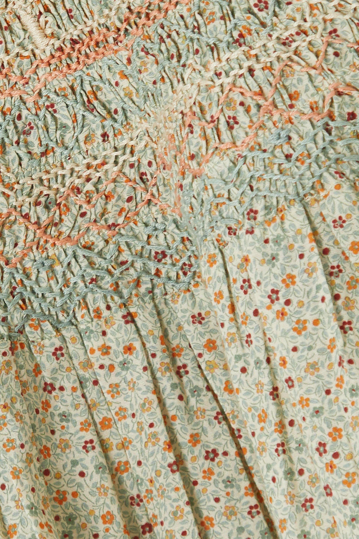 DÔEN Amoret smocked floral-print cotton-blend top