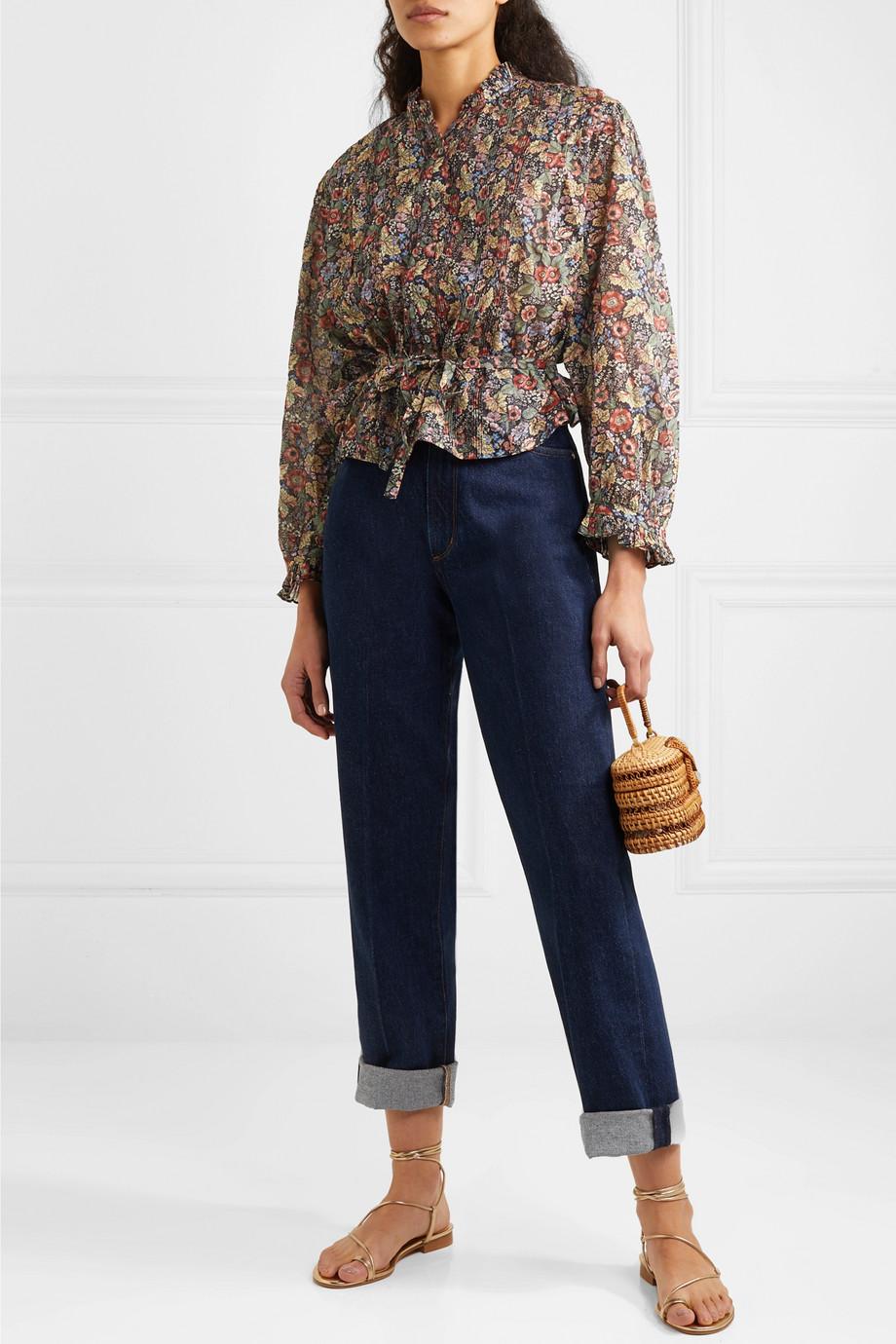 DÔEN Cezanne belted floral-print cotton-voile blouse