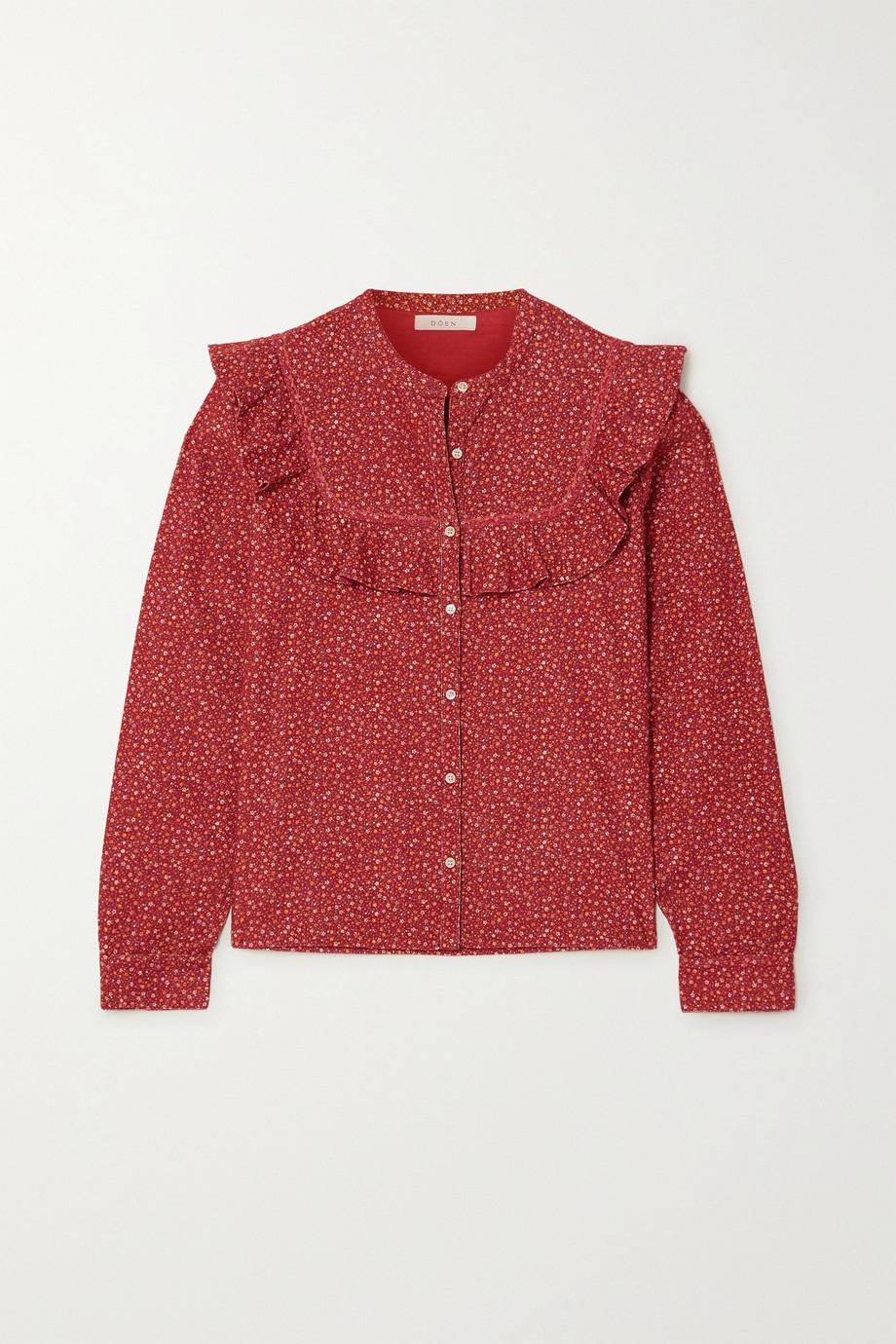 DÔEN Austen ruffled floral-print cotton-corduroy blouse