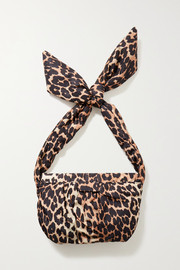 GANNI Medium knotted leopard-print shell shoulder bag