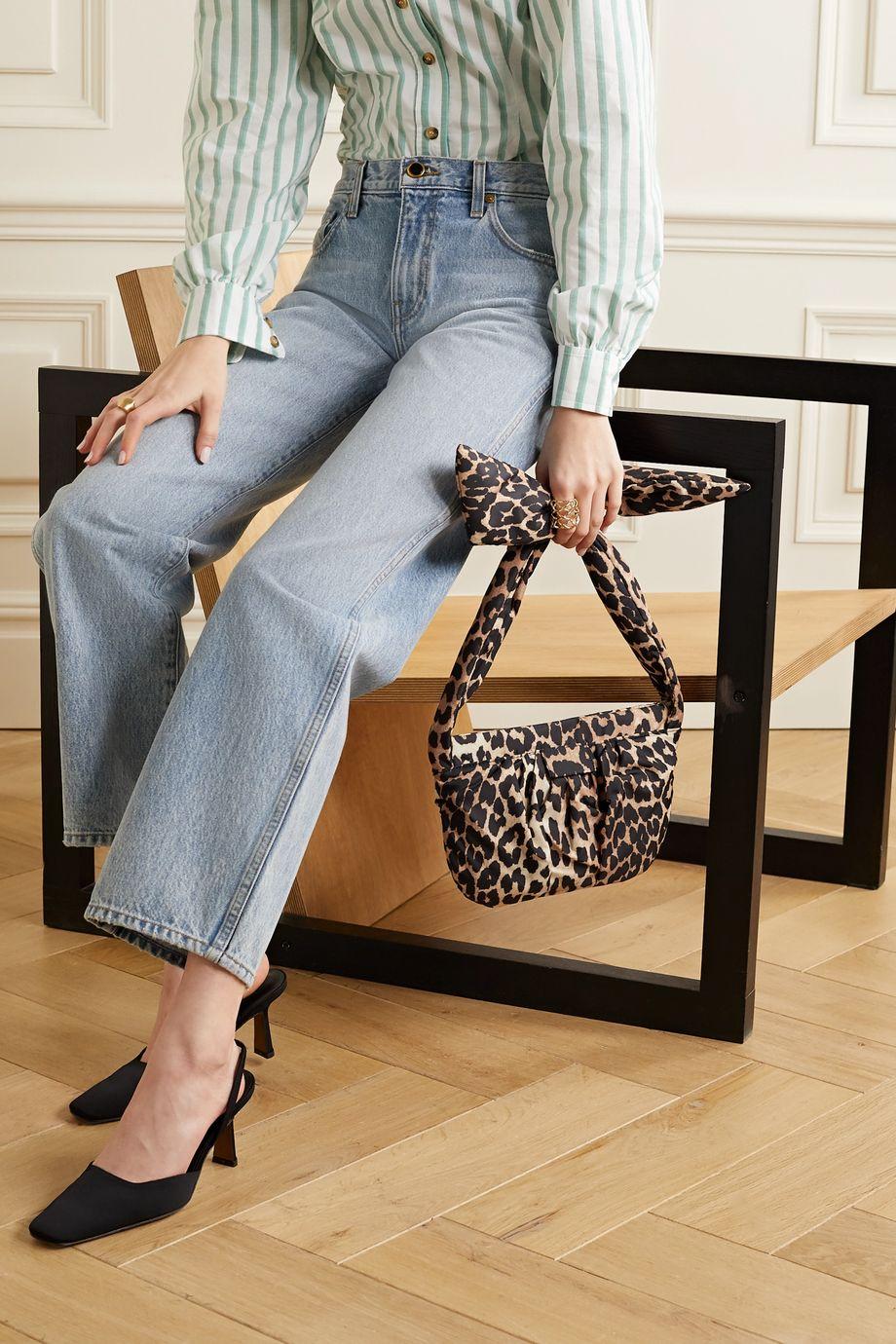 GANNI Medium knotted leopard-print shell shoulder bag